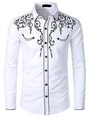 baratos Camisas Masculinas-Homens Tamanho Europeu / Americano Camisa Social Vaqueiro / Tradicional / Clássico Bordado, Estampa Colorida / Gráfico Algodão Colarinho Clássico Preto