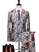 billige Dresser-Hvit Mønstret Standard Polyester Dress - Med hakk Enkelt Brystet To-knapp / drakter