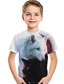 baratos Camisas para Meninos-Infantil Bébé Para Meninos Activo Básico Lobo Geométrica 3D Animal Estampado Manga Curta Camiseta Branco