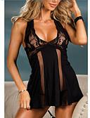 baratos Corpos Sexy-Mulheres Renda / Cruzado das Costas Super Sexy Baby-doll & Slip Roupa de Noite Sólido Preto Fúcsia S M L