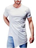 ราคาถูก เสื้อยืดและเสื้อกล้ามผู้ชาย-สำหรับผู้ชาย เสื้อเชิร์ต คอกลม สีพื้น ขาว