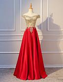 זול שמלות נשף-גזרת A סירה מתחת לכתפיים עד הריצפה סאטן שמלה עם חרוזים / קפלים על ידי LAN TING Express