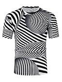 ราคาถูก เสื้อยืดและเสื้อกล้ามผู้ชาย-สำหรับผู้ชาย เสื้อเชิร์ต คอกลม ลายแถบ สีดำ L / แขนสั้น