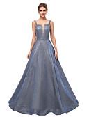 Χαμηλού Κόστους Βραδινά Φορέματα-Γραμμή Α Λεπτές Τιράντες Ουρά Με πούλιες Φανταχτερό / Όμορφη Πλάτη Χοροεσπερίδα Φόρεμα 2020 με Πούλιες