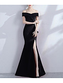 baratos Vestidos para Ocasiões Especiais-Sereia Ombro a Ombro Cauda Escova Microfibra Jersey Sensual / Elegante Evento Formal Vestido 2020 com Fenda Frontal