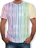 ราคาถูก เสื้อยืดและเสื้อกล้ามผู้ชาย-สำหรับผู้ชาย ขนาดพิเศษ เสื้อเชิร์ต ลายพิมพ์ คอกลม ลายแถบ สายรุ้ง