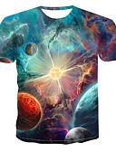 baratos Camisetas & Regatas Masculinas-Homens Camiseta Estampado, Galáxia Decote Redondo Arco-íris / Manga Curta / Verão