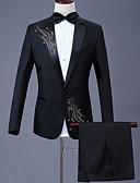 お買い得  スーツ-男性用 プラスサイズ スーツ, 幾何学模様 シャツカラー ポリエステル ブラック / ルビーレッド / パープル / スリム