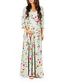זול שמלות-מקסי שרוכים לכל האורך דפוס, פרחוני - שמלה צינור בסיסי אלגנטית בגדי ריקוד נשים