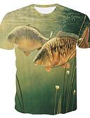 baratos Vestidos Plus Size-Homens Tamanhos Grandes Camiseta Estampado, 3D / Animal Decote Redondo Delgado Verde