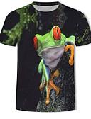 baratos Camisetas & Regatas Masculinas-Homens Tamanhos Grandes Camiseta Estampado, 3D / Animal Algodão Decote Redondo Preto