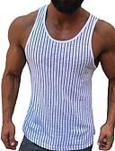 Χαμηλού Κόστους Αντρικά Πουλόβερ & Ζακέτες-Ανδρικά Μέγεθος EU / US Αμάνικη Μπλούζα Ριγέ Λεπτό Λευκό