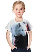 billige Piketopper-Barn Baby Jente Aktiv Grunnleggende Ulv Geometrisk Trykt mønster 3D Trykt mønster Kortermet T-skjorte Hvit / Dyr