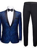 ราคาถูก ทักซิโด้-ชุดทักซิโด้ Tailored Fit ปกคลุม กระดุมหนึ่งเม็ดเรียงแถวเดียว เส้นใยสังเคราะห์ ลายพิมพ์