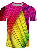 baratos Calças Femininas-Homens Tamanhos Grandes Camiseta Estampado, 3D / Arco-Íris / Gráfico Decote Redondo Arco-íris