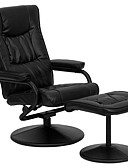ราคาถูก สูท-เก้าอี้ผู้เอนกายหนังเทียมสีดำพร้อมที่นั่งหมุนได้และเก้าอี้แบบออตโตมัน