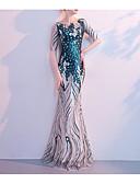 זול טוקסידו-בתולת ים \ חצוצרה עם תכשיטים עד הריצפה נצנצים שמלה עם נצנצים על ידי LAN TING Express