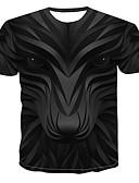 ราคาถูก เสื้อยืดและเสื้อกล้ามผู้ชาย-สำหรับผู้ชาย เสื้อเชิร์ต ลายพิมพ์ คอกลม 3D / สัตว์ / การ์ตูน สีดำ
