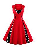 baratos Mini Vestidos-Mulheres Vintage Temática Asiática balanço Vestido - Patchwork, Estampa Colorida Decote U Altura dos Joelhos Cinto Não Incluso