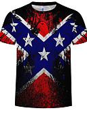 ราคาถูก เสื้อยืดและเสื้อกล้ามผู้ชาย-สำหรับผู้ชาย ขนาดของยุโรป / อเมริกา เสื้อเชิร์ต คอกลม 3D สายรุ้ง