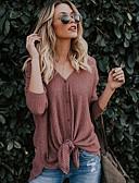 povoljno Majica-Majica Žene Jednobojni V izrez Slim Dusty Rose Svijetlo zelena