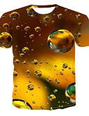 baratos Camisas Masculinas-Homens Tamanhos Grandes Camiseta Moda de Rua / Punk & Góticas Estampado, 3D Decote Redondo Dourado