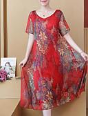 ราคาถูก เมกซิเดรส-สำหรับผู้หญิง Sophisticated สง่างาม ปลอก แต่งตัว - รอยจีบ ลายพิมพ์, ลายดอกไม้ midi