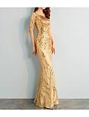 baratos Vestidos de Noite-Sereia Decote V Longo Paetês Sensual / Brilho & Glitter Baile de Formatura Vestido 2020 com Lantejoulas