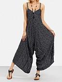 ราคาถูก จั๊มสูทและเสื้อคลุมสำหรับผู้หญิง-สำหรับผู้หญิง Street Chic สาย สีดำ ขากว้าง ชุด Jumpsuits Onesie, ลายแถบ S M L