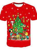 Χαμηλού Κόστους Ανδρικά μπλουζάκια και φανελάκια-Ανδρικά Μεγάλα Μεγέθη T-shirt Βασικό 3D / Γραφική Στρογγυλή Λαιμόκοψη Στάμπα Ρουμπίνι XXXXL / Κοντομάνικο