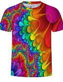 billige T-skjorter og singleter til herrer-Rund hals EU / USA størrelse T-skjorte Herre - 3D / Regnbue, Trykt mønster Regnbue