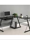 ราคาถูก สูท-โต๊ะคอมพิวเตอร์มุมโลหะรูปตัว L สีดำด้านบนกระจก