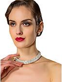 ราคาถูก เสื้อเอวลอยสำหรับผู้หญิง-สำหรับผู้หญิง ขาว Cubic Zirconia สร้อยคอ ต่างหู คลาสสิก ต่างหู เครื่องประดับ ขาว สำหรับ งานแต่งงาน 1set