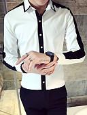 ราคาถูก เสื้อเชิ้ตผู้ชาย-สำหรับผู้ชาย เชิร์ต ปกกระดุมต่ำ เพรียวบาง สีพื้น / ลายบล็อคสี ขาว
