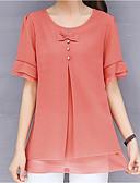 ราคาถูก ชุดเดรสพิมพ์ลาย-สำหรับผู้หญิง ขนาดพิเศษ เสื้อสตรี สีพื้น สีแดงชมพู