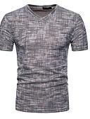 ราคาถูก เสื้อยืดและเสื้อกล้ามผู้ชาย-สำหรับผู้ชาย เสื้อเชิร์ต คอวี สีพื้น ใบไม้สีเขียวที่มีสามแฉก