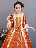 povoljno Stare svjetske nošnje-Princeza Rococo Viktoriánus Srednjovjekovni Haljine Izgledi Kostim Djevojčice Dječji Kostim Red+Golden Vintage Cosplay Zabava / večer Birthday Party Kamado roštilj Dugi Duljina A-kroj