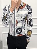 baratos Ternos & Blazers Masculinos-Homens Tamanho Europeu / Americano Camisa Social Estampado, Geométrica Branco / Manga Longa