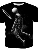 billige T-skjorter og singleter til herrer-Bomull Tynn Rund hals EU / USA størrelse T-skjorte Herre - 3D / Grafisk / Portrett, Trykt mønster Punk & Gotisk / overdrevet Svart / Kortermet