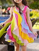 זול שמלות לבנות-שמלה א-סימטרי ללא שרוולים שכבות מרובות / רשת / טלאים קשת / טלאים מתוק / סגנון חמוד בנות ילדים / פעוטות