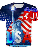 billige T-skjorter og singleter til herrer-Rund hals Store størrelser T-skjorte Herre - Geometrisk / Bokstaver, Trykt mønster Regnbue / Kortermet