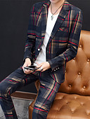 billige Dresser-Grønn / Rød Stripet Slank Fasong Polyester Dress - Med hakk Enkelt Brystet Enn-knapp / drakter