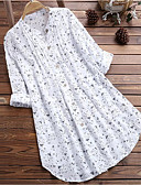 baratos Camisas Femininas-Mulheres Tamanhos Grandes Camisa Social Estampado, Poá Branco