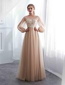 ราคาถูก Special Occasion Dresses-A-line อัญมณี ลากพื้น Tulle แต่งตัว กับ เข็มกลัด โดย LAN TING Express