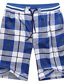 ราคาถูก ชุดว่ายน้ำผู้ชาย-สำหรับผู้ชาย พื้นฐาน กางเกงขาสั้น กางเกง - ลายสก๊อต / ลายตาราง สีน้ำเงิน สีเหลือง สีฟ้า XXXL XXXXL XXXXXL