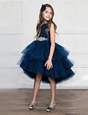 povoljno Haljine za male djeveruše-Princeza Asimetričan kroj Haljina za djevojčicu s cvijećem - Saten / Til Bez rukávů Ovalni izrez s Pojas / Kristali / Rhinestones