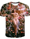 ราคาถูก เสื้อยืดและเสื้อกล้ามผู้ชาย-สำหรับผู้ชาย ขนาดพิเศษ เสื้อเชิร์ต พื้นฐาน ลายพิมพ์ คอกลม รูปเรขาคณิต / 3D / Portrait ไวน์ XXXXL / แขนสั้น