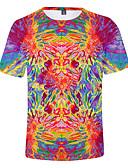 Χαμηλού Κόστους Αντρικά Μπλέιζερ & Κοστούμια-Ανδρικά Μέγεθος EU / US T-shirt Ουράνιο Τόξο Στρογγυλή Λαιμόκοψη Ουράνιο Τόξο