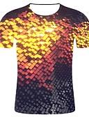 billiga T-shirts och brottarlinnen till herrar-Tryck, Geometrisk / Färgblock / Enfärgad T-shirt - Streetchic / drivna Herr Guld