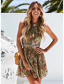 ราคาถูก มินิเดรส-สำหรับผู้หญิง สง่างาม รูปตัว เอ แต่งตัว ลายดอกไม้ ขนาดเล็ก